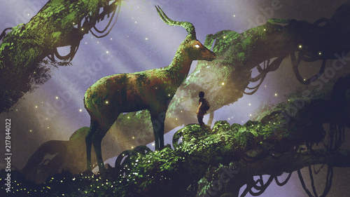 Montage in der Fensternische Lavendel young hiker found giant deer statue covered with moss and lichen while traveling in the forest, digital art style, illustration painting
