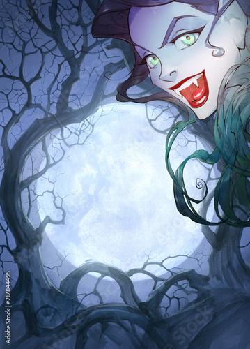 Cartoon Anime Halloween Illustration Of A Beautiful Charming Vampire