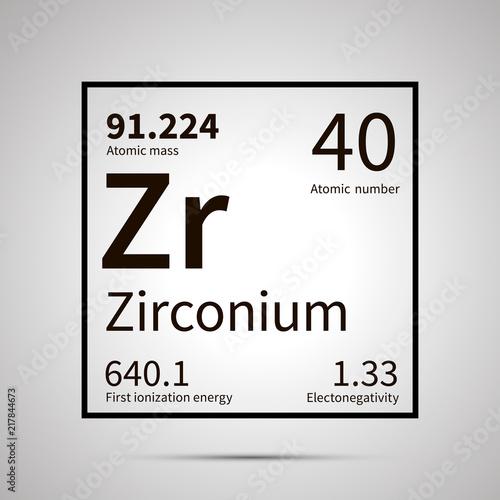 Fototapeta Zirconium chemical element with first ionization energy, atomic mass and electro