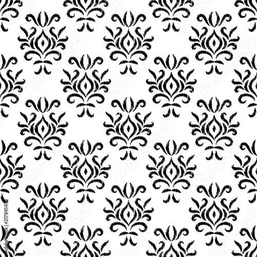 czarny-i-bialy-adamaszkowego-ikat-ornamentu-geometryczny-kwiecisty-bezszwowy-wzor