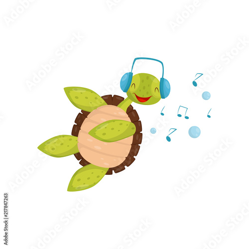 Foto op Canvas In het ijs Joyful turtle swimming and listening music. Funny tortoise in blue headphones. Marine reptile with brown shell. Flat vector design