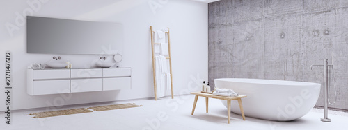 Photographie new modern zen bathroom with white and concrete wall