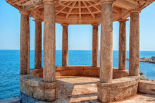 Gazebo And The Sea In The . Spain. Costa Brava. Romance, Holidays And Wedding Day.