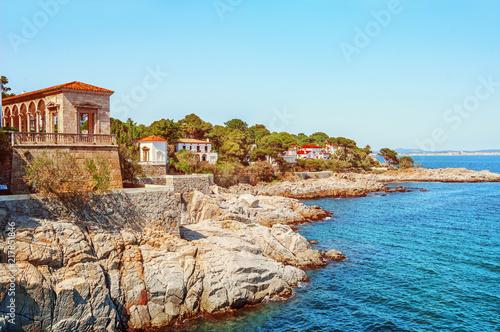 Sea landscape in the Spain. Beautiful view of the Camí de Ronda along the Costa Brava coast. S'Agaró. la Gavina. Famous tourist destination in Costa Brava.