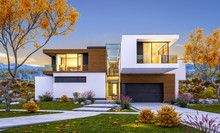 3d Rendering Of Modern Cozy House By The River With Garage For Sale Or Rent With Beautiful Mountains On Background. Cool Autumn Evening With Soft Light From Window.