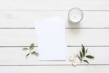 Stylish Flat Lay With Card Blank Space, Stationary, Candle, Seashells, Leaves. Ready To Insert Your Text, Invitation, Wedding Or Logo. Best For Social Media, Backgrounds, Headers, Blogs, Wedding