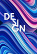 Vector illustration: Blue neon colored abstract twisted wavy liquid background. Trendy poster design.