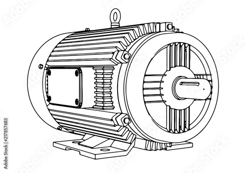 Photo  outline electric motor vector