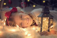 Christmas Background With Litt...