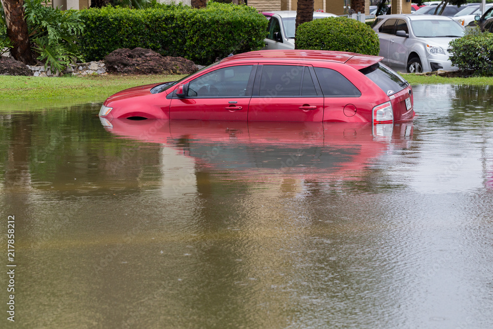 Fototapeta Cars submerged in Houston, Texas, US during hurricane Harvey. Water could enter the engine, transmission parts or other places. Disaster Motor Vehicle Insurance Claim Themed. Severe weather concept