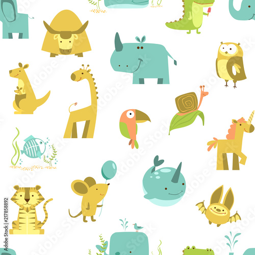 Tela  seamless pattern of animals