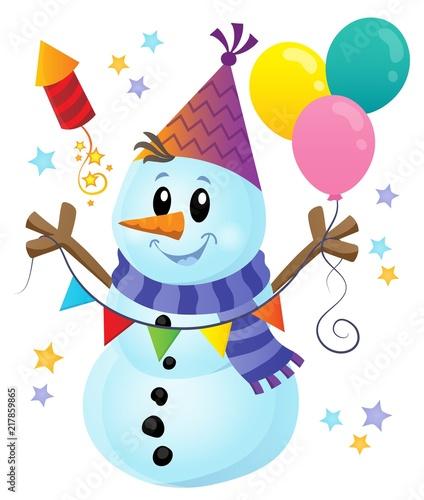 Poster Voor kinderen Party snowman theme image 1
