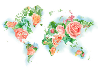 FototapetaWatercolor illustration of world map in flowers. Template for DIY projects, wedding invitations, greeting cards, logos, posters, blogs, website