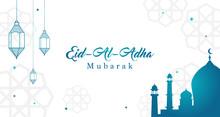 Eid Al Adha Mubarak Background Vector Illustration, Beautiful Mosque With Arabic Lanterns, Muslim Community Festival.