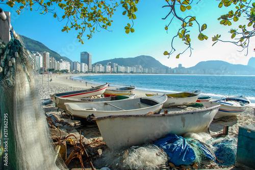 Deurstickers Centraal-Amerika Landen Fishing boat on Copacabana beach Rio de Janeiro