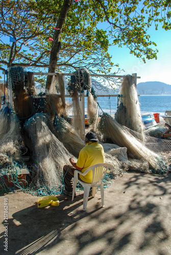 Deurstickers Centraal-Amerika Landen Fishing net, Copacabana beach
