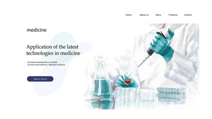 Web page for the design of a medical or scientific site, laboratory research and the latest technologies and developments in the field of medicine, taking analyzes