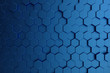 3D illustration abstract dark blue of futuristic surface hexagon pattern. Blue geometric hexagonal abstract background.