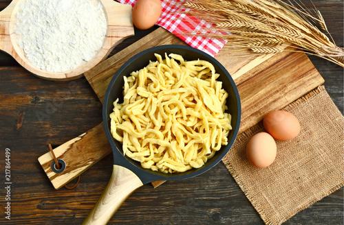 Spätzle  are a kind of soft egg noodle  also Spätzli or Chnöpfli in Switzerland or Knöpfle or Hungarian Nokedli, Csipetke or Galuska.