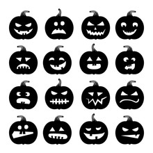 Pumpkins Icons. Vector Halloween Pumpkin Silhouette Set Isolated On White