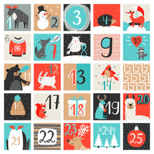 Advent Calendar. December Countdown Calendar Vector Illustration, Christmas Eve Creative Winter Background Set With Numbers