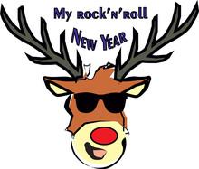 Rock-n-roll New Years Deer In Glasses Vector Illustration