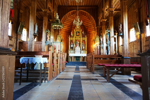 Photo  interior of wooden church in Beskydy mountains