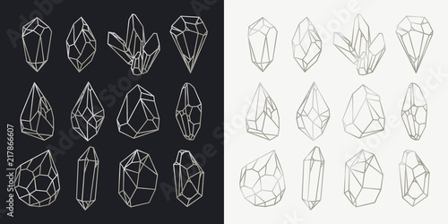 Photo Set of isolated hollow crystals, mineral outlines