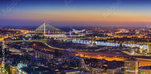 Fototapeta Ada,  Gazela bridges, Belgrade Waterfront, Sava river, Old and New Belgrade, Belgrade Waterfront by night obraz na płótnie