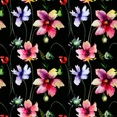 Naklejka Do kuchni Seamless pattern with Stylized Gerber flowers