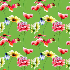 Fototapeta Kwiaty Seamless pattern with wild flowers