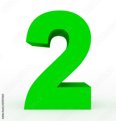 number 2 3d clean green isolated on white - 217873825