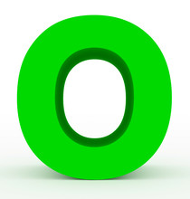Letter O 3d Green Isolated On ...