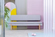 Grey Bench In A Hallway Interi...
