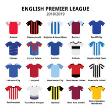 English Premier League Kits 2018 - 2019, Football Or Soccer Jerseys Icons Set From England 18/19 Kits