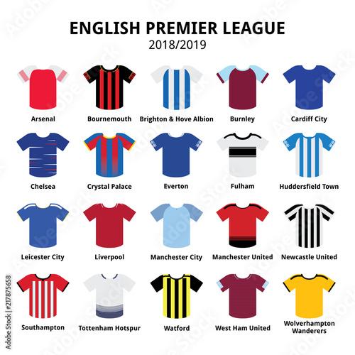 English Premier League kits 2018 - 2019, football or soccer jerseys icons set fr Wallpaper Mural