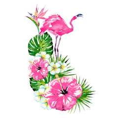 beautiful pink flamingo and exotic  flowers , palm leaves, watercolor