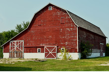 Old Weathered Red Barn In Rura...