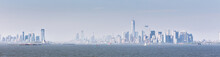 Panoramic View Of Lower Manhattan And Jersey City From Staten Island, New York City, USA.