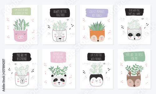 Fototapety, obrazy: Vector collection of cute posters with house plants in funny animal pots