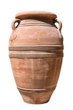 Old Clay Amphora On White