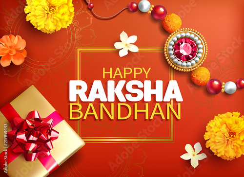 Fotografering  Greeting background with decorated rakhi and gift for Raksha Bandhan (Bond of protection and care) – Indian festival of sisters and brothers