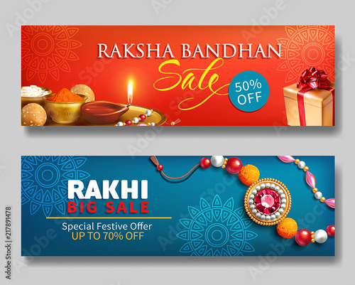 Raksha Bandhan creative promotion banners for Indian festival of sisters and brothers Wallpaper Mural