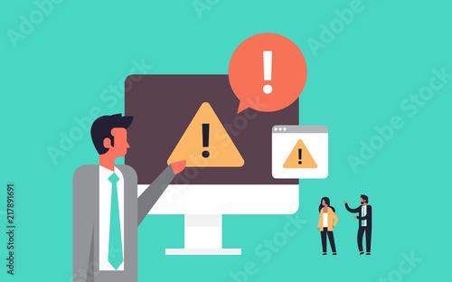 Photo  warning concept danger piracy error background businessman problem solution conc