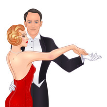 Beautiful Couple In Art Deco Style Dancing Tango. Retro Fashion: Glamour Man And Woman Of Twenties. Vector Illustration. Flapper 20's Style. Vintage Wedding Invitation Template.