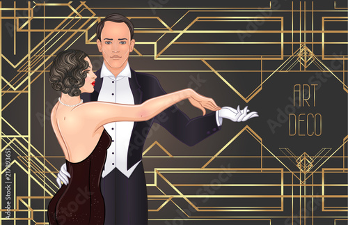 Photographie Beautiful couple in art deco style dancing tango