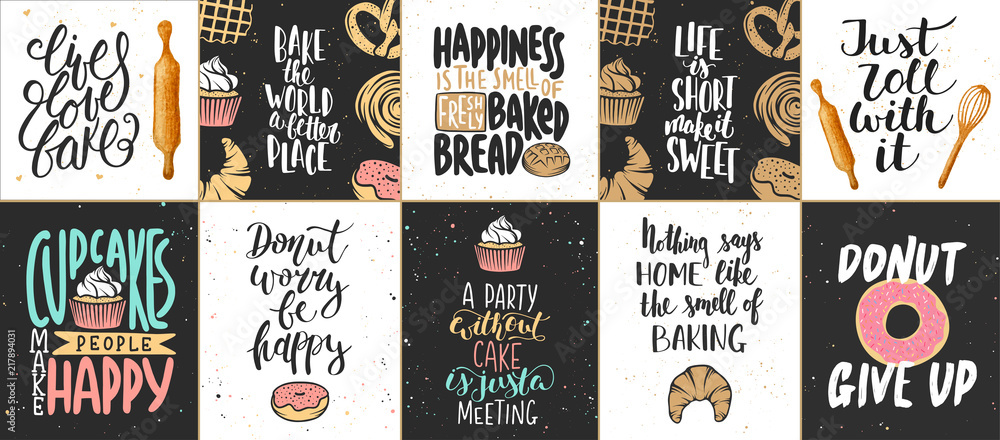 Zestaw plakatów wektor piekarnia napis, kartki okolicznościowe, dekoracje, wydruki. Ręcznie rysowane elementy projektu typografii. Napis odręczny. Kaligrafia współczesnego pędzla atramentowego.