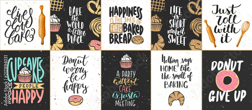 Set of vector bakery lettering posters, greeting cards, decoration, prints Fototapet