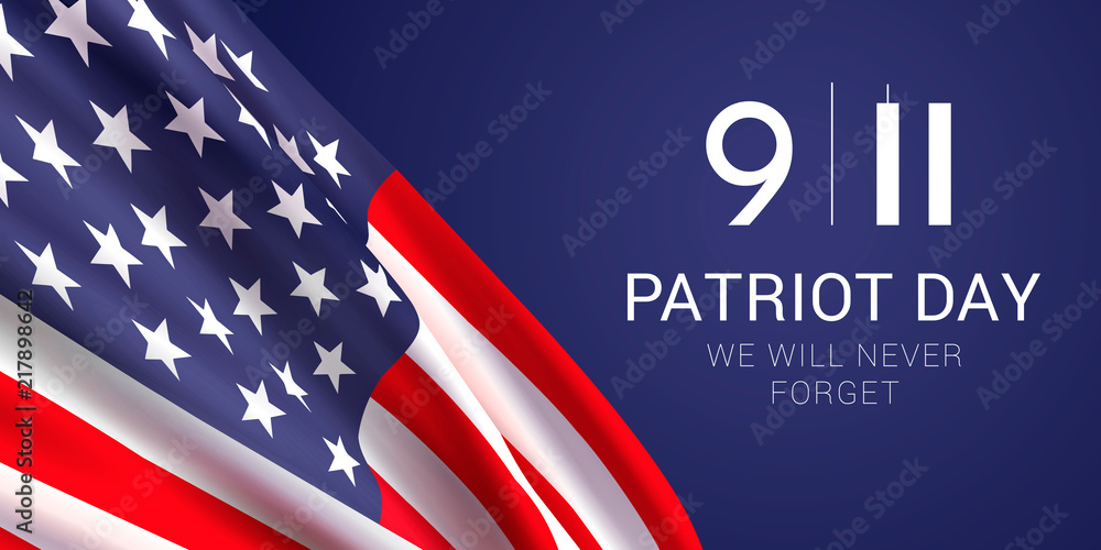 Fototapeta Vector banner design template with american flag and text on dark blue background for Patriot Day. National Day of Prayer and Remembrance for the Victims of the Terrorist Attacks on 09.11.2001.