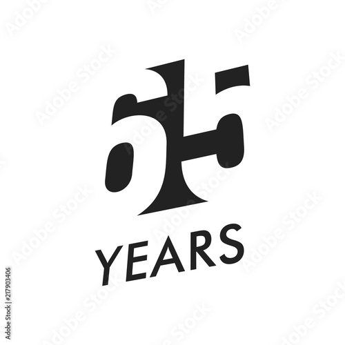 Poster  Sixty five years vector emblem template
